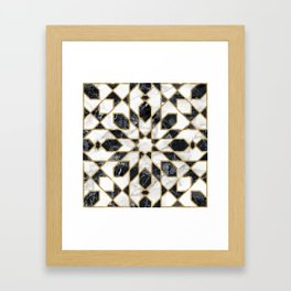 Black and white marble Moroccan mosaic Framed Art Print