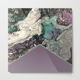Marbled Purple Butterfly Silver Metal Print
