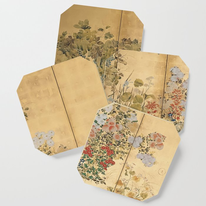 Japanese Edo Period Six-Panel Gold Leaf Screen - Spring and Autumn Flowers Coaster