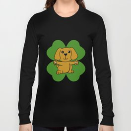 Dog On Four Leaf Clover- St. Patricks Day Funny Long Sleeve T-shirt