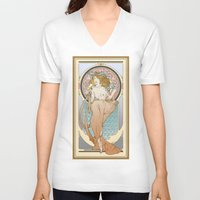 mucha V-neck T-shirts featuring Mucha modern stylization by Anna Sun