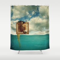 sea horse Shower Curtains featuring Sea Horse by Ross Sinclair