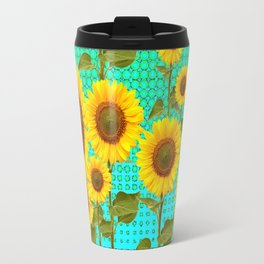 SUNFLOWER FIELD BLACK-TURQUOISE GRAPHIC Travel Mug