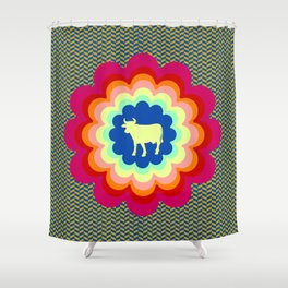 Cow Flower Power Shower Curtain