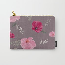 Watercolor pink & red peonies on dusty pink background Carry-All Pouch