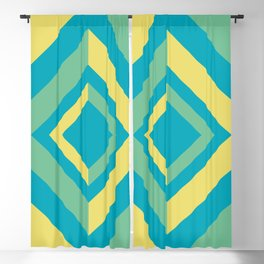 Aqua Green Yellow Diamond Minimal Illustration 2021 Color of the Year AI Aqua and Accent Shades Blackout Curtain