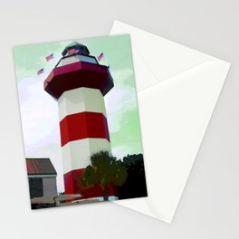 Harbour Town - Hilton Head, South Carolina - candy cane lighthouse - modern nautical photography art Stationery Cards