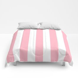 Cherry blossom pink - solid color - white vertical lines pattern Comforters