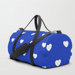 HEARTS ((white on azure)) Duffle Bag