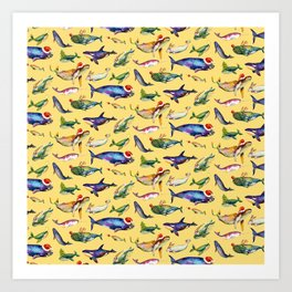 Whales on Holiday by dotsofpaint - Yellow Art Print