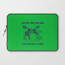 I'm Not Only His Dad Im Also Number 1 Fan Funny Drums Vintage Drummer Distressed Laptop Sleeve