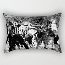 College Football Art, Black And White Rectangular Pillow