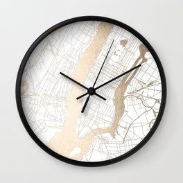 New York City White on Gold Wall Clock