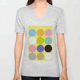Color Polka-Dot Yellow Unisex V-Neck