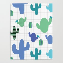 Cactus blue and green #homedecor Poster
