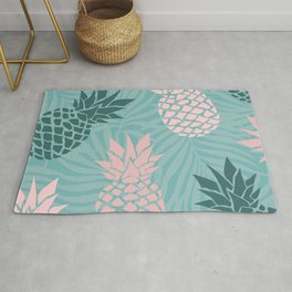 Hawaii, Pineapple Art, Pink, Turquoise, Teal Rug