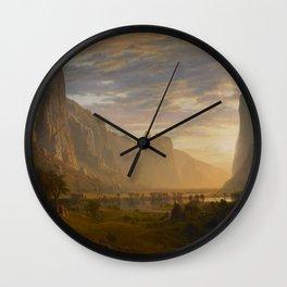 Looking Down Yosemite Valley by Albert Bierstadt Wall Clock