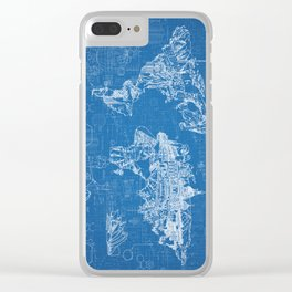 world map blue print Clear iPhone Case