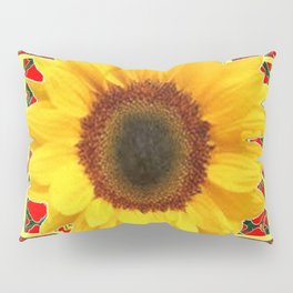 WESTERN RED ART DECO YELLOW SUNFLOWER ART Pillow Sham
