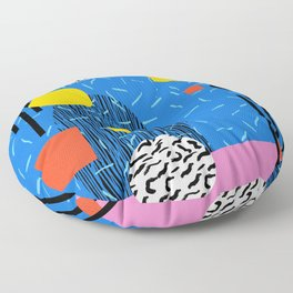 Crank - 80s retro throwback minimal abstract painting memphis style trendy vibes all day Floor Pillow