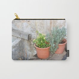 Pots of herbs against a stone wall Carry-All Pouch