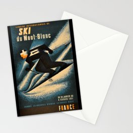 1951 Ski Mont Blanc Lithograph Vintage Poster - Advertisement Wall Art Stationery Cards
