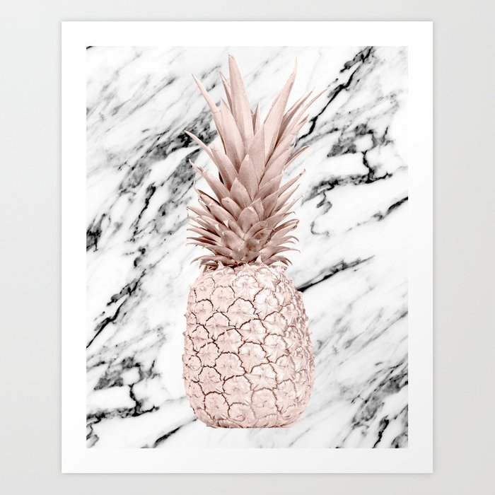 Rose Gold Pineapple on Black and White Marble Art Print