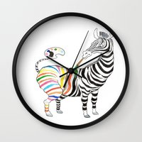 zebra Wall Clocks featuring Zebra by gunberk