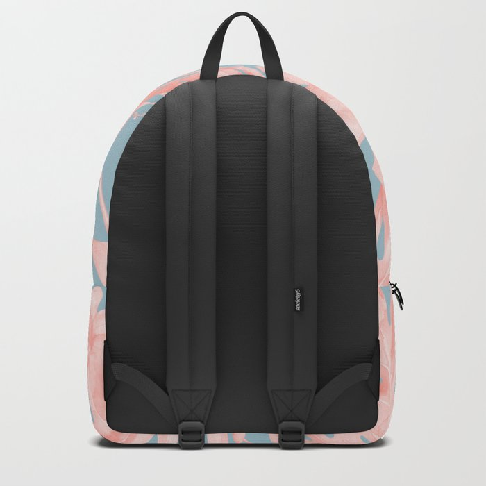Island Life Millennial Pink on Pale Teal Blue Backpack