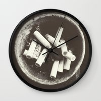 cigarettes Wall Clocks featuring cigarettes by Sushibird