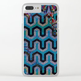 Geometric Blue and Pink Pattern Clear iPhone Case