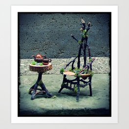 Gothic Faery Twig Chair and Tea Table Art Print