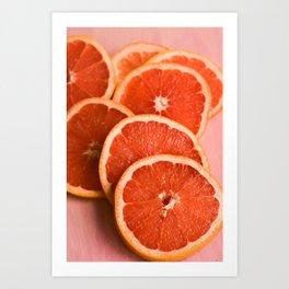 Grapefruit on Pink Art Print