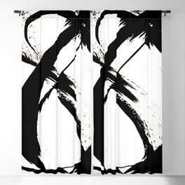 Brushstroke 7: a minimal, abstract, black and white piece Blackout Curtain