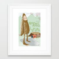 sasquatch Framed Art Prints featuring Sasquatch by by hannah's hand
