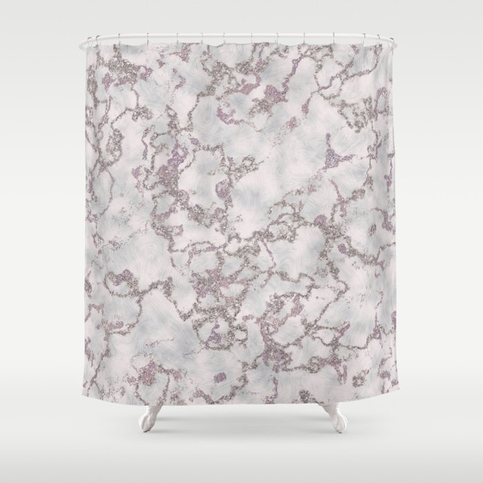 Mint And White Silver Glitter Marble Texture Shower Curtain By Graphicbrat