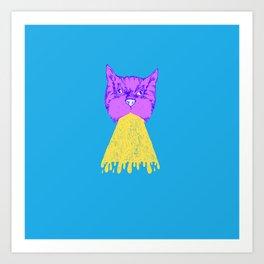 Cat Vomit - Purple Poot + Blue Background Art Print