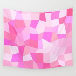 Bright Pink Mosaic Wall Tapestry