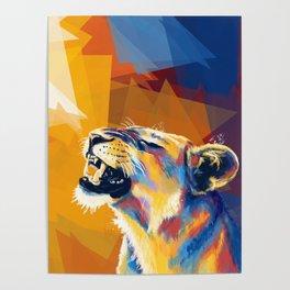In the Sunlight - Lion portrait, animal digital art Poster