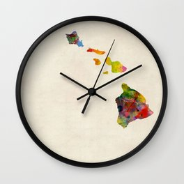 Hawaii Watercolor Map Wall Clock