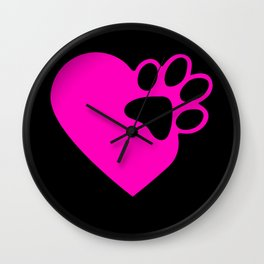 Cute Heart Paw Print product Funny Love Gift For Cat Owners Wall Clock
