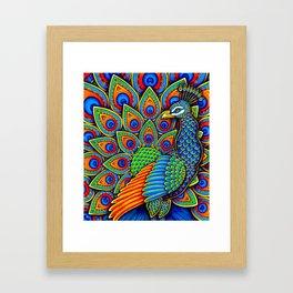 Colorful Paisley Peacock Rainbow Bird Framed Art Print