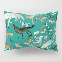 Wolves of the World Green pattern Pillow Sham