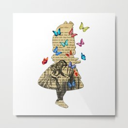 Alice In Wonderland - Vintage Wonderland Book Metal Print