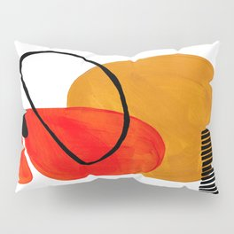 Mid Century Modern Abstract Vintage Pop Art Space Age Pattern Orange Yellow Black Orbit Accent Pillow Sham