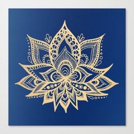 Gold and Blue Lotus Flower Mandala Canvas Print