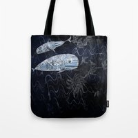 whales Tote Bags featuring whales by Bunny Noir