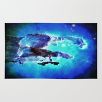 nebula Area & Throw Rugs featuring Blue Pillars of Creation nEBULA  by 2sweet4words Designs