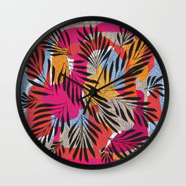 Memphis Style Leaves Wall Clock