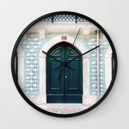 The green door   Lisbon Portugal architecture   Fine art travel photography print Wall Clock
